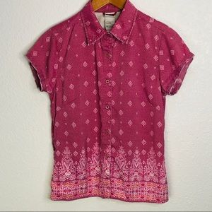 The North Face Women's Pink Button Up | Medium